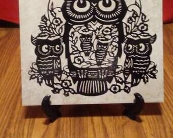 Ma'am Owl And Babies Tile