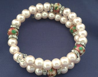 Fun Spring Pearl and Flowered Bracelet