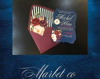 Vintage Envelope Floral Linner Invititation for Sweet sixteen, Wedding, Baptism, Baby Shower, Birthday Invitation, etc!