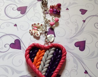 handmade knitted clay heart  bag charm/ keyring 5.75ins