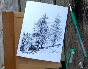 Fir Tree/Pine Tree American Woodland Greeting Card/Note Card