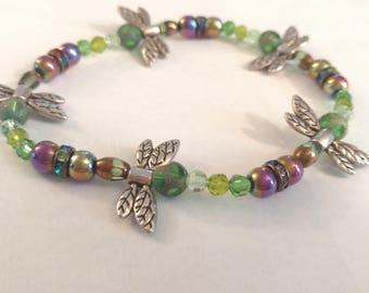 Beaded Dragon Fly Bracelet