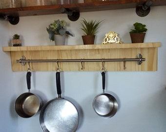 Kitchen shelf with hooks, pans rack,kitchen organization, kitchen storage design, wood shelf, excellent gift for all