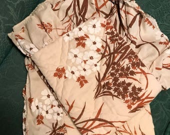 Two Vintage 1970's Burnt Orange Floral Ruffelled Standard Pillowcases