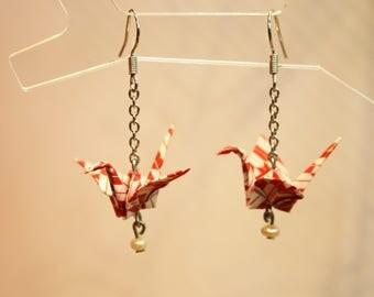 Origami Crane Earrings (OC-ER-006) REDWHITE
