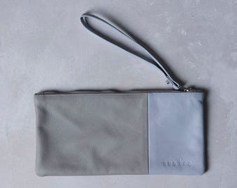 gray and blue wristlet, powder blue leather, two tone pochette, leather wristlet clutch ,zipper leather clutch, soft leather purse