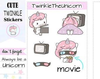 A112   kawaii unicorn stickers,movie planner stickers,movie night stickers,tv stickers,netflix stickers,relax stickers,lazy day stickers