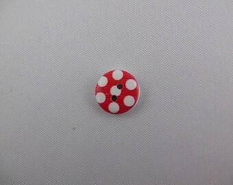 button wood red polka dot white