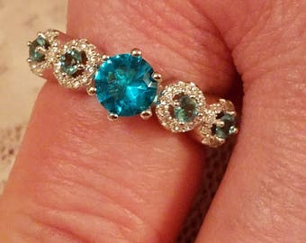 Aquamarine and White Topaz Round Cut Gemstone Handmade Sterling Silver Ring, 2 ct.  Size - 8