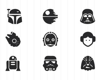 INSTANT DOWNLOAD - Star Wars Svg, Star Wars Icons, Star Wars Icons Svg Bundle, Star Wars Cut Files, Star Wars Silhouette, Star Wars Clipart