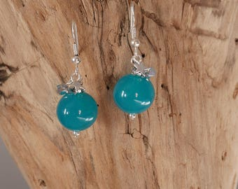 Earrings green turquoise and silver (BO112)