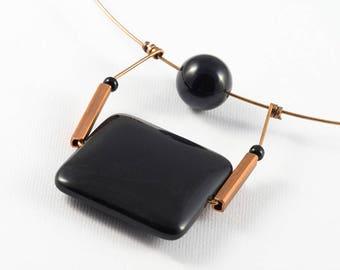 Onyx necklace, Black onyx pendant, Stone necklace, Bronze necklace, Stone jewelry, Minimalist necklace, Copper jewelry, Minimalist jewelry