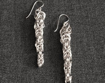 Tapered Sterling Silver Byzantine Chain Maille Drop Earrings