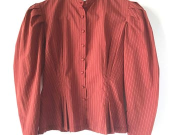 Vintage 70s 80s Button Up Top Blouse, Striped Victorian Blouse, Size Small