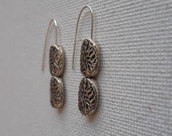 Silver Duo Drop Earrings – by ButterflyMyst (Silver Plate Beads)