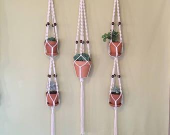 Macrame plant-hanger or double macrame plant- hanger
