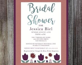 Tulip Floral Bridal Shower Invitation