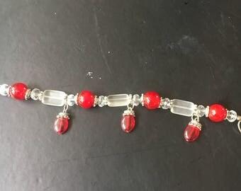 Beaded red and white bracelet