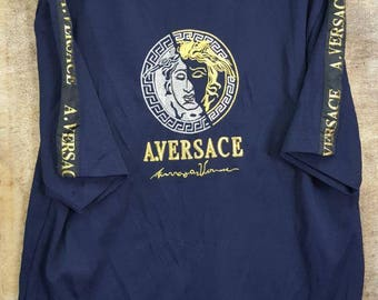 FREE SHIPPING !!! Vintage Versace A.Versace  Jersey T-Shirt Dark Blue Colour