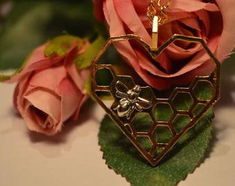 Bee and Honeycomb Heart Necklace