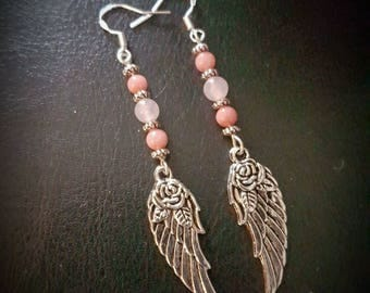 RHODOCHROSITE/ROSE QUARTZ bead & cupid wing hook earrings. guardian angel/celtic/silver/gemstone/love/healing/pagan/wicca/crystal/protection