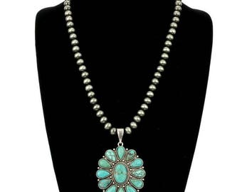 "24"" Natural Turquoise, Western Pearl Necklace"