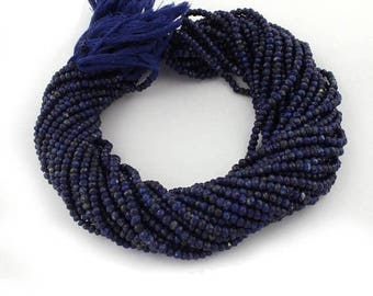 50% off 5 Strands Lapis Stone 4mm Faceted Center Drill Rondelles, Lapis Stone Gemstone Beads 13 Inches Long GR103