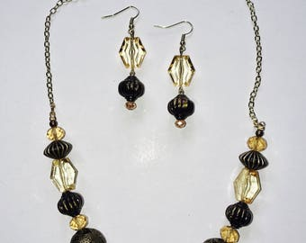 Gold Chain And Bead Jewelry Set