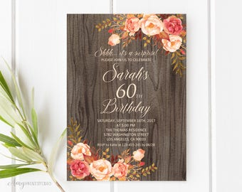 Fall Surprise Birthday Invitation, Rustic 60th Birthday Invitation, Any Age Birthday Invite, PERSONALIZED, Digital file, #W82
