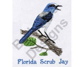 Bird - Machine Embroidery Design, Florida Scrub Jay