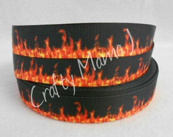 "Flames Printed on Black 7/8"" Grosgrain Ribbon by the yard. Choose between 3/5/10 yards."