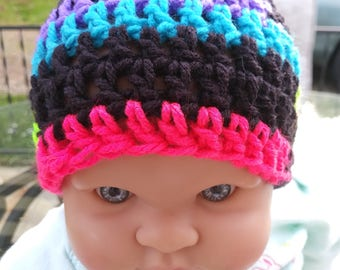 1~Adorable 80s neon Baby Beanie- 6 months~