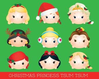 Princess Tsum tsum clipart, tsum tsum graphics, disney tsum tsum, tsum tsum christmas clipart, princess, party, christmas, printable
