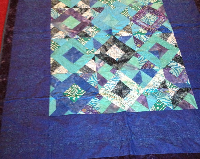 Blue and Turquoise Diamond Quilt, Patchwork Blue and Turquoise Throw Quilt, Home Decor Throw Quilt 50 X 60 inch