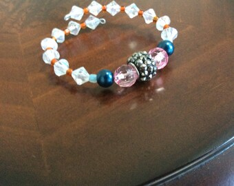 Beaded Wire Bracelet With Metal Studded Center Bead