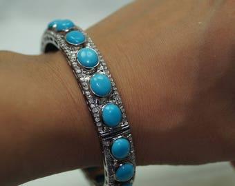 Antique finish 2.50ct pave diamond Turquoise sterling silver hinged Bracelet Bangle - 2651701