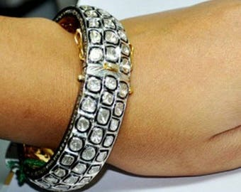 18K gold Vermeil Victorian Style 14.20 cts. rose cut diamonds uncut polki diamonds sterling silver bangle Bracelet
