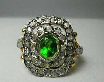 Victorian look 2.10ctw rose cut diamonds green emerald sterling silver handcrafted valentine's gift love ring