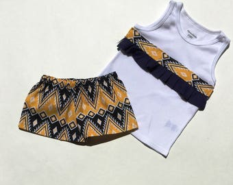 Tribal Print Top and Shorts Set