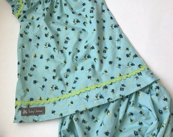Little girl size 2 dress with bloomers. Floral, preshrunk cotton.