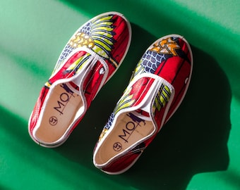Red & Green African Print Plimsole Shoes