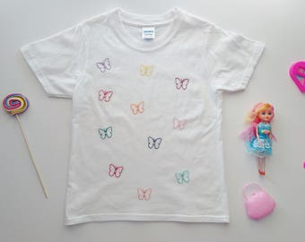 Butterflies kids T shirt Hand embroidered T shirt White cotton T shirt Hand embroidered butterflies Funny girls T shirt Ready to Ship