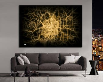 BEND Oregon Night Lights Map Large Horizontal Wall Art Map Bend OR Modern Art Neon City Street Map of Bend NLM