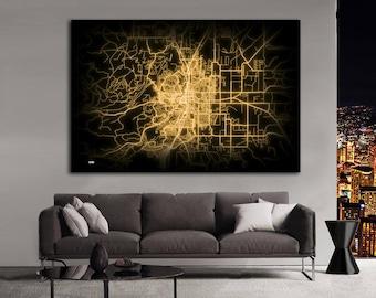 BEND Oregon Night Lights Map Large Horizontal Wall Art Map Bend OR Modern Art Neon City Street Map of Bend NLM