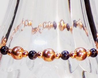Lapis 4mm Beads and 2mm and 6mm Copper Beads Beaded Bracelet with Copper Chain for Adjustable Length