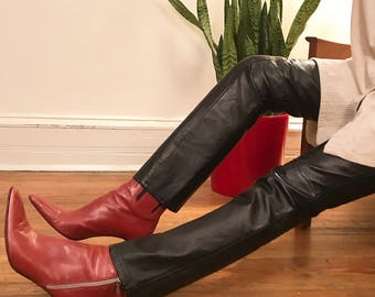Genuine leather pants w/ slim leg S