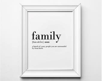 Family Definition, Family Wall Art, Funny Family Definition Art, Family Prints, Funny Definition Prints, Printable Art, Instant Download