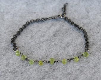 Peridot Bracelet, Sterling silver, handmade, unique specimen, Swiss made