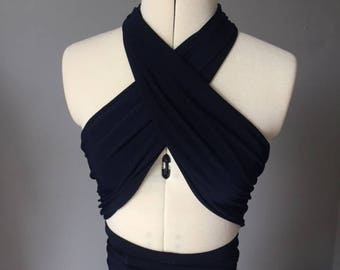 Navy Jersey Wrap Top