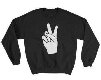 PEACE - Adult Sweatshirt / Sweater - peace hand sign